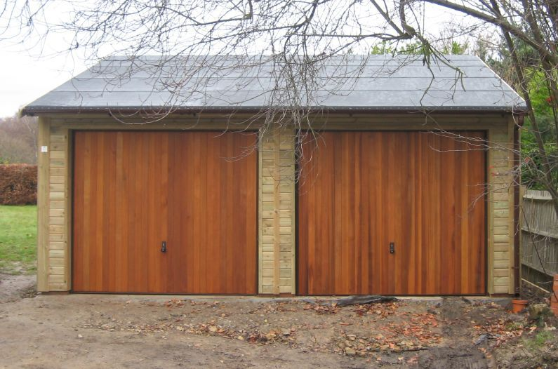 superb double garages #2: Double Garage with standard green felt, and Cedar Infill Up u0026 Over doors  (not