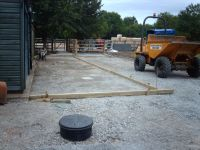 Shuttering in place ready for concrete.