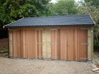 Image of Garage with Recycled Tiles