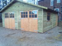 20 x 20 Garage with special doors - fitted with glazed panels. Note doors are only 7 feet wide.