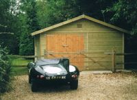 16 x 20 Garage with standard double doors set to one side.