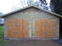 20 wide x 30 deep garage with standard doors in the gable end.