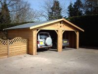 20 x 20 Garage with 2 x cart lodge openings and grey felt tiles