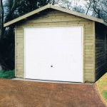 Single garage with a georgian U&O door and standard overhangs.