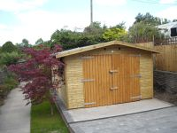 12 x 18 garage made to 2.5m to ridge for planning reasons. 150mm overhang to sides.