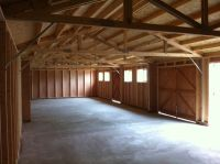 Inside view of the 60 x 20 garage - with 2 side pod partitions required for structural bracing.