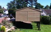 20 x 20 Garage sited onto a raised platform (supplied by customer). Excellent way of utilising space.