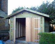 10 x 16 Feather Edge Garage with Cedar Double Doors.
