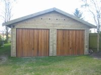 20 x 40 Feather Edge Garage with Cedar U&O doors in the Gable End