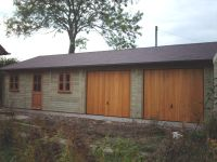 40 x 20 Garage with 2 Cedar U&O doors and Garden Office doors & windows. Felt Tile Roof