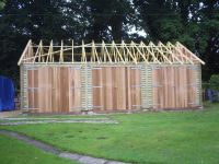 30 x 20 Garage ready for a tiled roof, with 30 degree trusses.