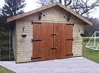 12ft x 20ft Single Shiplap Clad Garage Double Doors featuring black door fittings