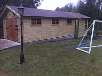 Double Shiplap Tandem Design Garage with an addtional matching Workroom to rear