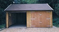 Double Garage 20 x 20 Timber Up&Over Door with Cart Lodge front to right hand side