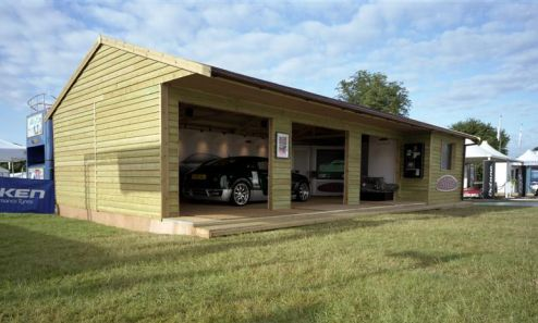 A 40 x 20 Warwick Buildings Garage built for Connaught Racing and here shown at The Goodwood Festival of Speed. 