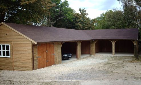Warwick garage timber garages workrooms timber for Barn shaped garage